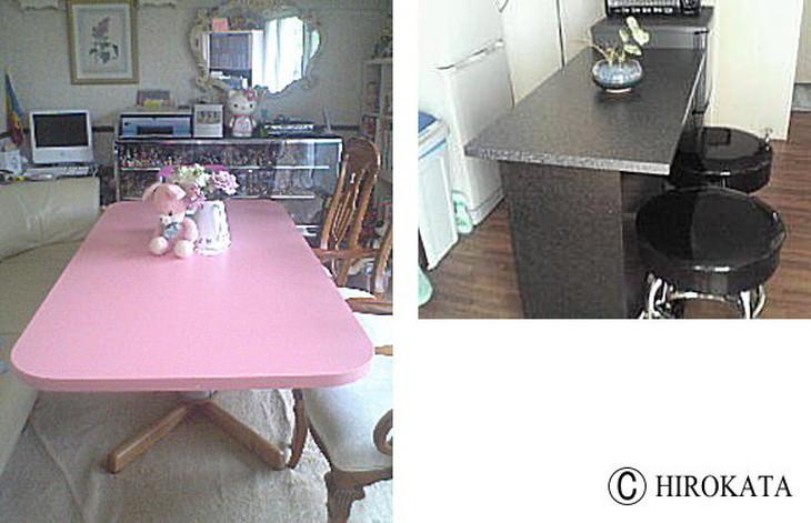 かわいいピンクのリビングテーブル天板と御影石調対面カウンターテーブル天板