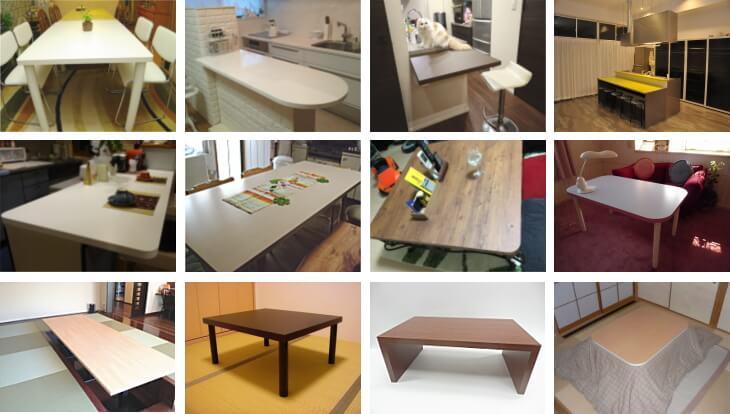 メラミン化粧板メーカーアイカメラミン使用のテーブル天板事例画像
