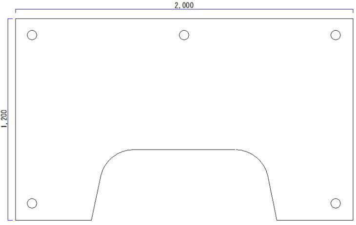 L字型パソコンデスク平面形状図面