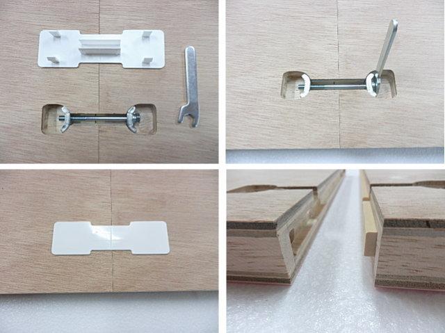メラミン化粧板天板の分割継ぎ目連結金具ざぐり加工