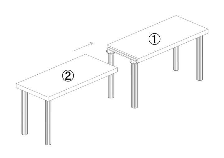 メラミン化粧板テーブル天板二分割継ぎ目サネ加工図面