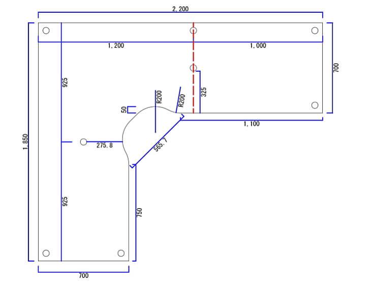 パソコンデスク天板厚み39mmの脚配置図面
