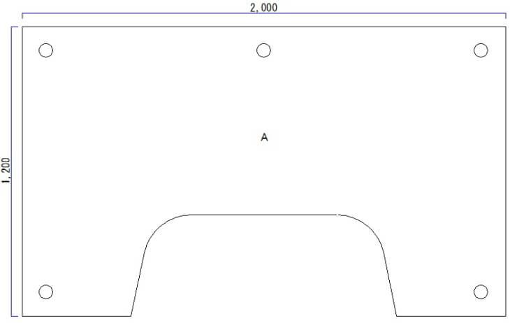 天板厚み30mmのパソコンデスク天板の脚配置図面
