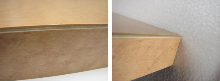 メラミン化粧板の面取り加工不良