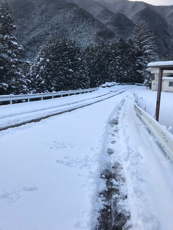 柳谷小学校校門前の通学路