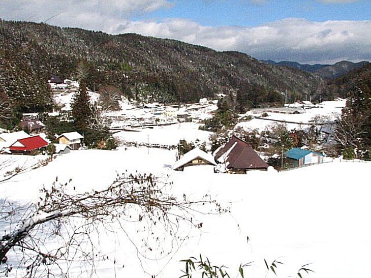 雪がつもった時の久万高原町の子どもたちの雪あそび(竹スキーとキンマ)