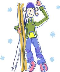 スキー遊びのイラスト