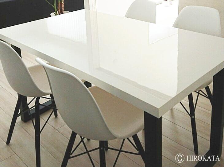ダイニングテーブル天板鏡面白アイカメラミン化粧板仕上げ